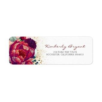 Burgundy Red Flowers and Gold Glitter Elegant Label