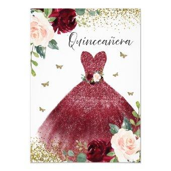 Burgundy Red Gown Dress Blush Floral