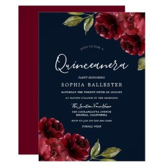 Burgundy Red & Navy Floral 15th Party
