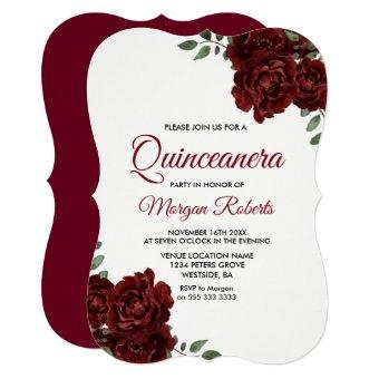 Burgundy Red Rose Beautiful Invite