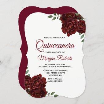 Burgundy Red Rose Beautiful Invite