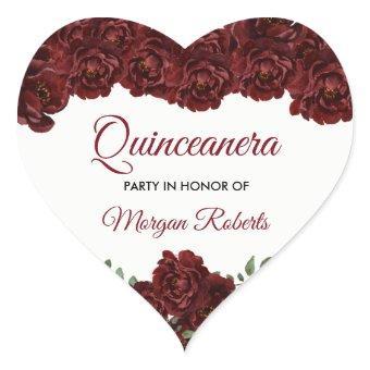 Burgundy Red Rose 15th Birthday Party Heart Sticker