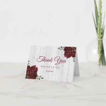 Burgundy Red Rose Rustic Wedding Thank You
