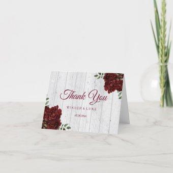 Burgundy Red Rose Rustic Wedding Thank You