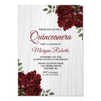 Burgundy Red Rose Rustic White Invite