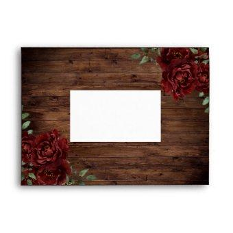 Burgundy Red Rose Rustic Wood Envelope