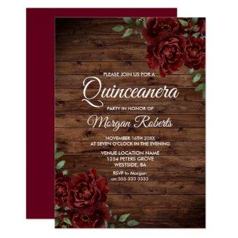 Burgundy Red Rose Rustic Wood Quinceanera Invite