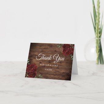 Burgundy Red Rose Rustic Wood Wedding Thank You