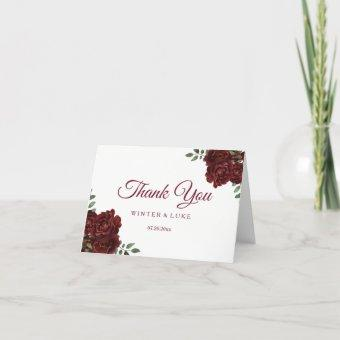 Burgundy Red Rose Wedding or Thank You