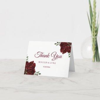 Burgundy Red Rose Wedding or Thank You