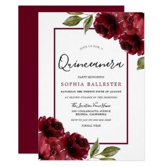 Burgundy Red Roses Modern Party
