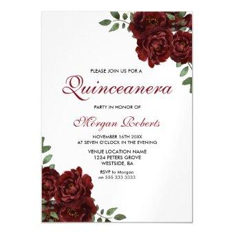 Burgundy Red Roses Modern Party Magnetic