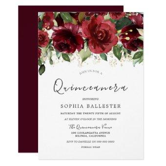 Burgundy Red Watercolor Flowers Party