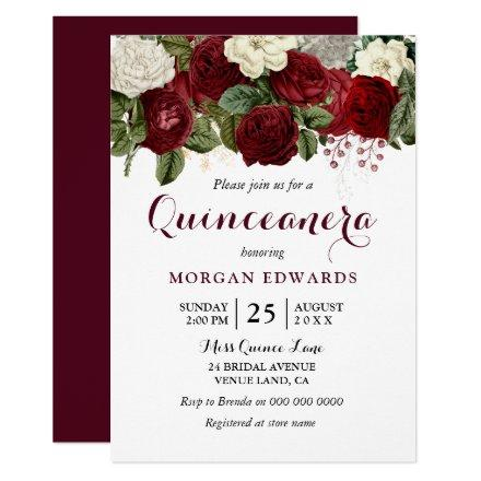 Burgundy Red White Roses Invite