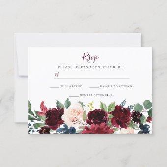 Burgundy Red Wine Flowers Elegant Wedding RSVP