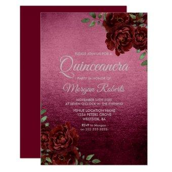 Burgundy Rose Foil Look Invite