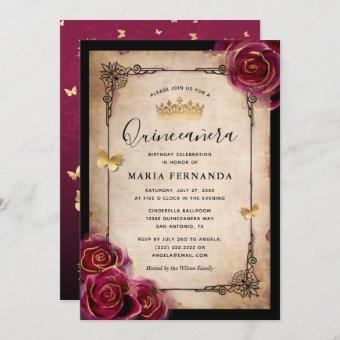 Burgundy Rose Gold Watercolor Elegant