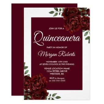 Burgundy Rose White Border Invite
