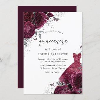 Burgundy & Silver Dress & Floral Roses