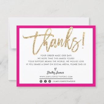 BUSINESS THANK YOU modern chic gold glitter script