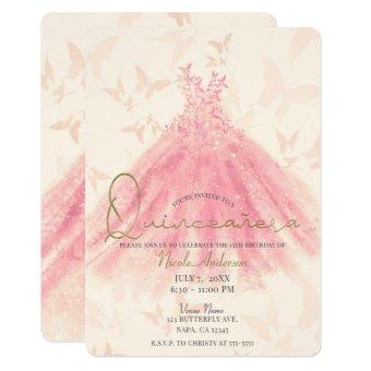Butterfly Dance Peach Sparkle Dress Quinceañera