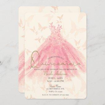 Butterfly Dance Peach Sparkle Dress Quinceañera