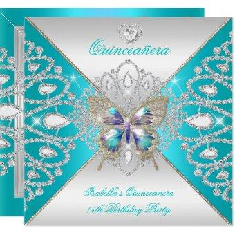 Butterfly 15th Teal Silver Tiara 2
