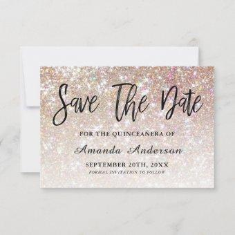 Champagne Glitter Brush Script Save The Date