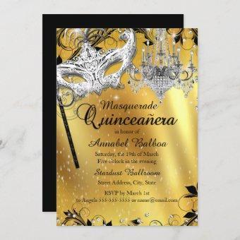 Chandelier Masquerade Gold Invite