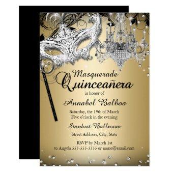 Chandelier Masquerade Gold Invite