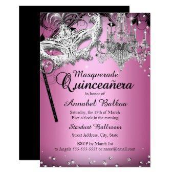 Chandelier Masquerade Pink Invite