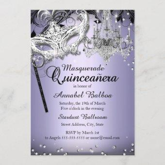 Chandelier Masquerade Purple Invite