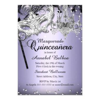 Chandelier Masquerade Purple Invite
