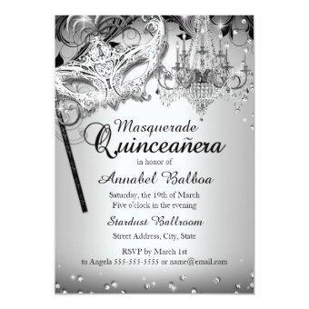 Chandelier Masquerade Silver Invite