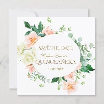 Charm Spring Blush White Flowers Quinceañera Save The Date
