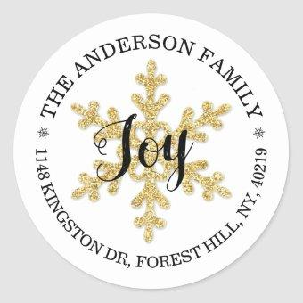 Chic Festive Snowflake Custom Return Address Classic Round Sticker