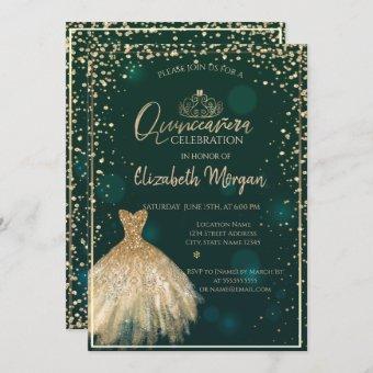 Chic Gold Dress Tiara,Diamonds Green Quinceañera
