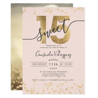 Chic gold foil confetti blush photo