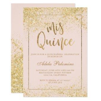 Chic gold glitter frame script blush Quinceañera