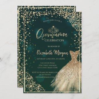 Chic Green Gold Dress Tiara,Diamonds Quinceañera