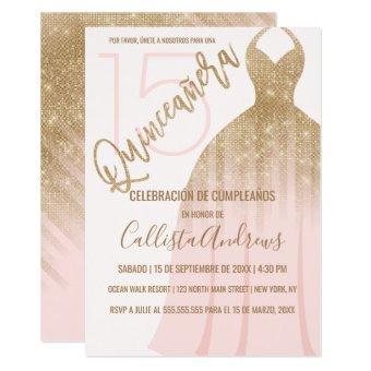 Chic Pink Gold Glitter Spanish Dress