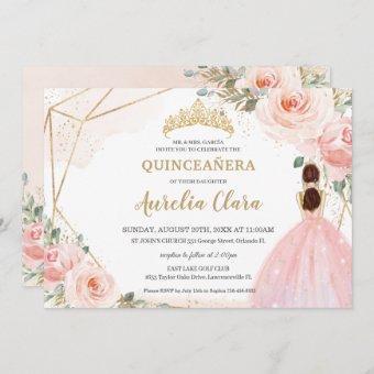 Chic Quinceañera Blush Pink Floral Tiara Birthday