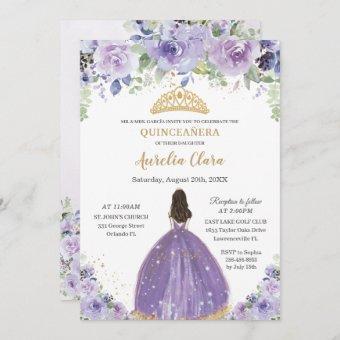 Chic Quinceañera Purple Lilac Floral Princess