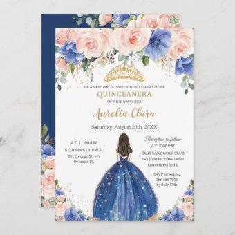Chic Quinceañera Royal Blue Blush Floral Princess