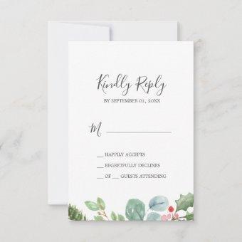 Christmas Greenery & Berry Simple RSVP Card