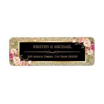 Classy Pink Floral Gold Glitter Sparkles Wedding Label