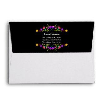 Colorful Mexican Fiesta Flowers Return Address Envelope