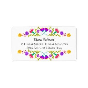 Colorful Mexican Fiesta Folk Art White Address Label