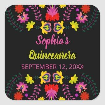 Colorful Mexican Fiesta Party Flowers Black Square Sticker
