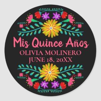 Colorful Mis Quince Anos Black Pink Mexican Fiesta Classic Round Sticker